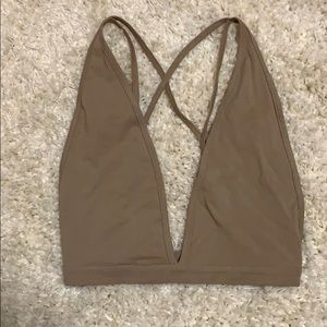 Nastygal strappy tan crop top size S